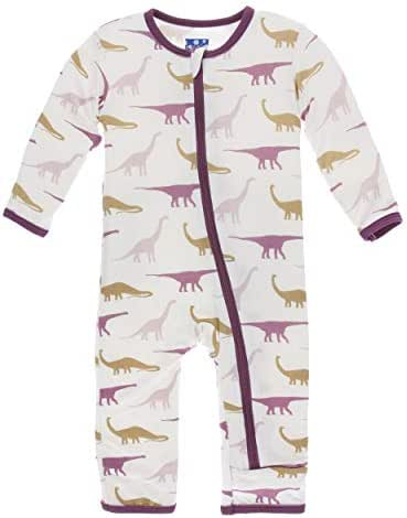 KicKee Pants Print Coverall with Zipper (2T, Natural Sauropods)