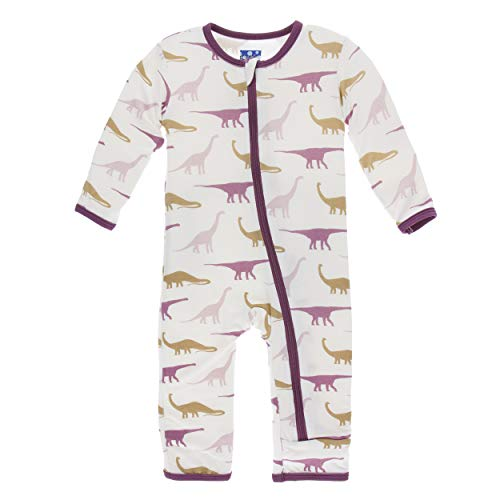 Kickee Pants Little Girls Print Coverall with Zipper - Natural Sauropods, 5 Years