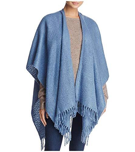 - Echo Solid Blue Boucle Ruana Shawl Wrap