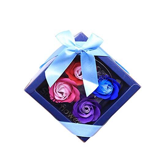 Matoen Valentine's Day Birthday Soap Rose Scented Bath Body Petal Rose Flower Soap Wedding Decoration Gift Best Gift Box 4 Pack (C)
