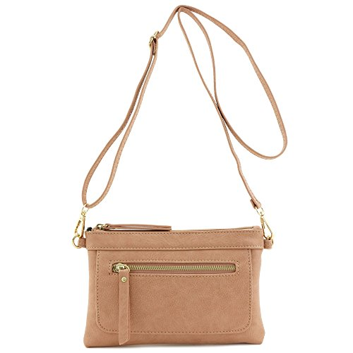 Multi-functional Wristlet Clutch and Crossbody Bag Rose Pink