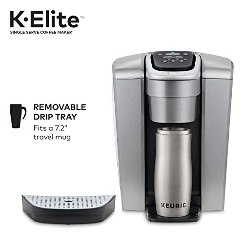 Keurig K-Elite Single Serve K-Cup Pod Coffee Maker, with Strong Temperature Control, Iced Coffee Capability, 12oz Brew Size, Programmable, Brushed Silver