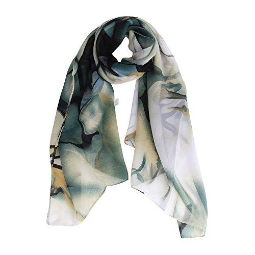 Datework Women's Handbag Shawl Chiffon Large Lace Scarf, Long Wrap Boho Satin Scarves (Blue)