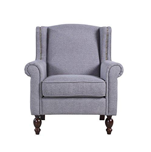 Classic Scroll Arm Fabric Living Room Chair with Nailhead Trim (Light Grey)
