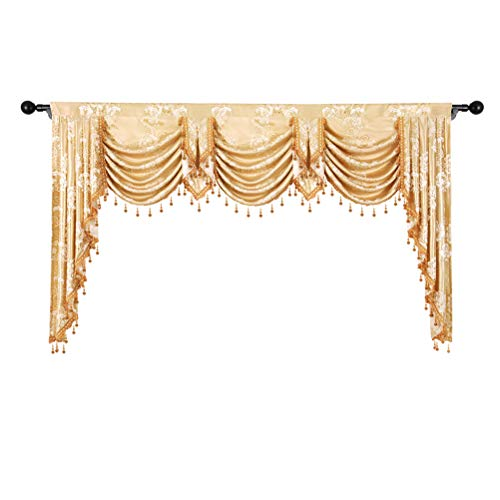 Valance Jacquard Curtain - elkca Golden Jacquard Waterfall Valance for Living Room Luxury Floral Curtain Valance for Bedroom (Floral-Golden, W79 Inch, 1 Panel)