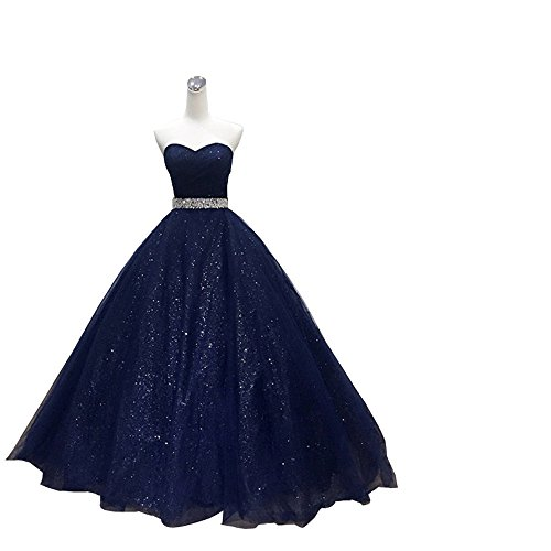 Sparkly Sequined Evening Dresses Empire Waist Strapless Lace-up Crystal Sash Prom Dress Gradaution Navy Blue 16 ()