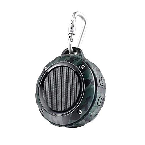 (Outdoor Waterproof Bluetooth Speaker,Kunodi Wireless Portable Mini Travel Speaker with Subwoofer, Enhanced Bass, Built in Mic for Sports, Pool, Beach, Hiking, Camping (Camouflage))