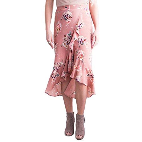 Naomiky Summer Ruffle Bohemian Skirt Floral Printed Asymmetrical Midi Skirts Womens Sexy Wrap Skirt Women Beach Bodycon Skirt Pink (J Renee Wrap)