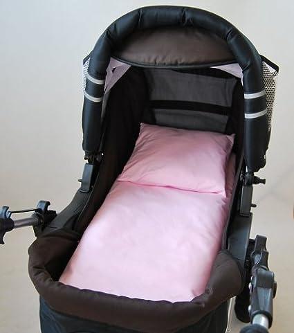 2 tlg. Kinderwagenset Baby Bettw/äsche Garnitur f/ür Kinderwagen Kissen Decke F/üllung Retro braun//P/ünktchen brau