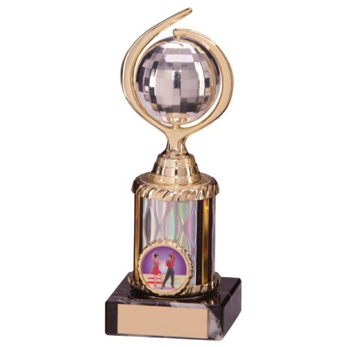 7 inch high Glitterball Disco Ball Trophy Engraving Included
