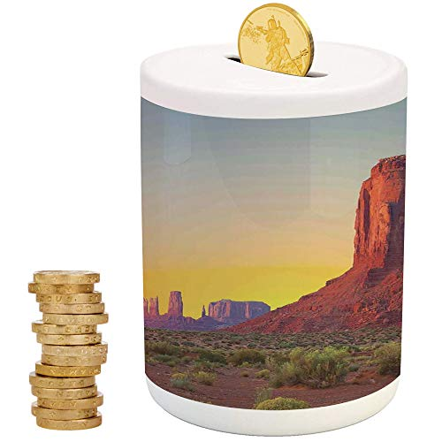 House Decor,Ceramic Child Bank,Printed Ceramic Coin Bank Money Box for Cash Saving,Sunset in Famous Grand Canyon Archaic Natural Wonders of World Heritage Photo