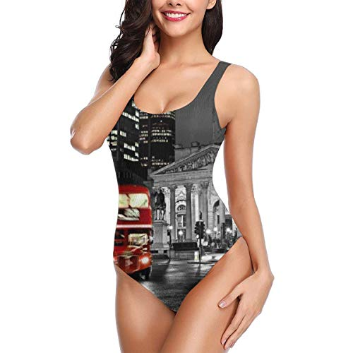 - London Red Bus St Paul's Cathedral Tower Traffic Women's Athletic Training One Piece Swimsuit Swimwear Bathing Suit S