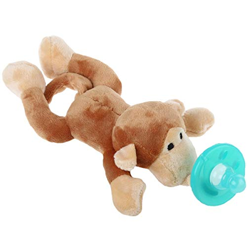 Baby Pacifier with Animal Attached - Stuffed Monkey Soothie Paci & Teether for Your Child- Teething Infant + Plush Toy - Baby Animal Pacifier for Newborns - BPA-Free, Unisex for Boys & Girls Gift