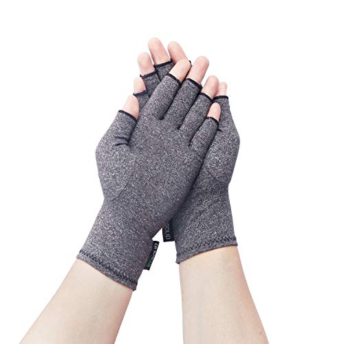Arthritis Compression Gloves Pressure Gloves for Relieving Arthritis Rheumatoid Pains Carpal Tunnel Aches with Breathable Fabric and Open Finger Design Men Women Gray U.S. Solid Product (Small)
