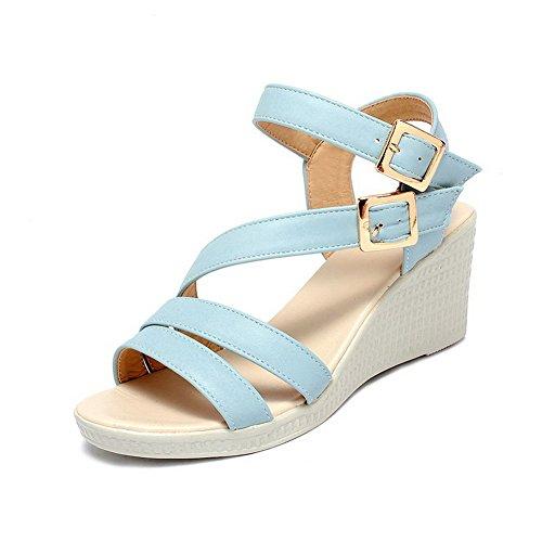 VogueZone009 Mujeres Hebilla Sólido Puntera Descubierta Sandalia de Cuña Azul