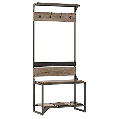 Bush Furniture  Refinery Hall Tree with Shoe Storage Bench, Rustic Gray - 32W x 16D Mudroom Bench provides a place to sit while putting on and taking off shoes; supports up to 250 pounds Hall Tree features four coat hooks for hanging jackets, scarves, hats and more Bottom shelf stores all types of footwear to keep your home's entryway free from clutter - hall-trees, entryway-furniture-decor, entryway-laundry-room - 416qi3B06qL. SS400  -