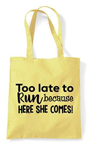Because Run Lemon Bag Too Late Shopper Here She Comes Tote To EqqpUWt