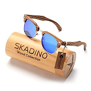 SKADINO Handmade Bamboo Sunglasses with Blue Mirror Polarized Lenses for Men or Women in a Cateye That Floats-S1066C02