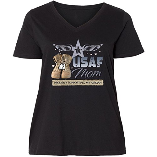 inktastic USAF Mom Supporting Ladies Curvy V-Neck Tee 2 (18/20) Black c8e9 (Womens V-neck Supporting)