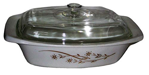 Vintage 1962-63 Pyrex Golden 22K Gold Honeysuckle Design Oblong Curve Deep Casserole Baking Dish w/ Lid
