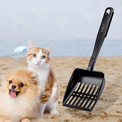 LYCC Cat Litter Scooper Non-Stick Shovel Full Metal Material Solide and Strong Handle,Pet Sifter Kitty Cat Litter with 1 Pcs Hook Easy to Storage