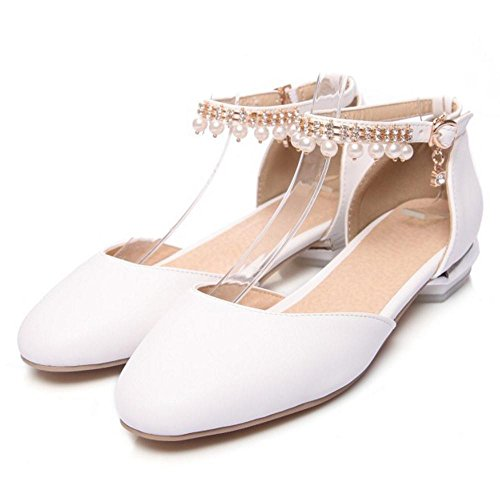 Para White Bajo de Mujer RAZAMAZA Zapatos Tacon PSTw8x