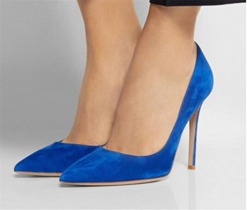 xie Femmes Bleu Daim Pointu Pointe Fine avec des Chaussures à Talons Hauts Bouche Superficielle Chaussures Simples, Blue, 41