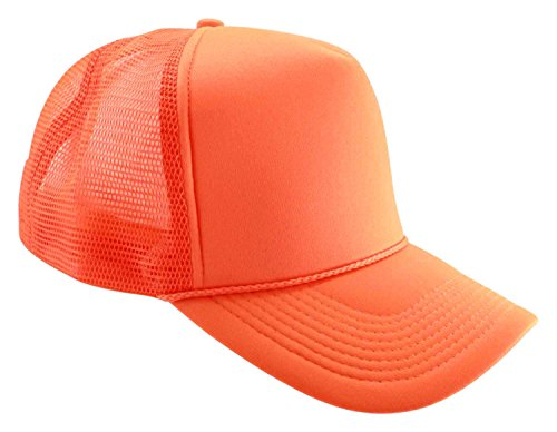 Enimay Neon Colored Black Light Trucker Style Foam Hats Pool Party Rave Summer Neon Orange One Size