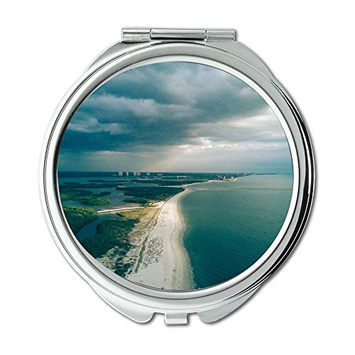 Mirror,Compact Mirror,aerial beach clouds,Pocket Mirror,portable -