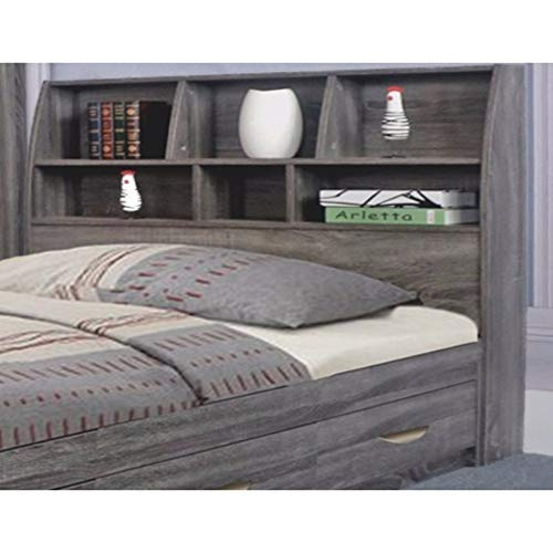 Benzara Elegant Grey Finish Full Size Bookcase Six Shelves Headboard