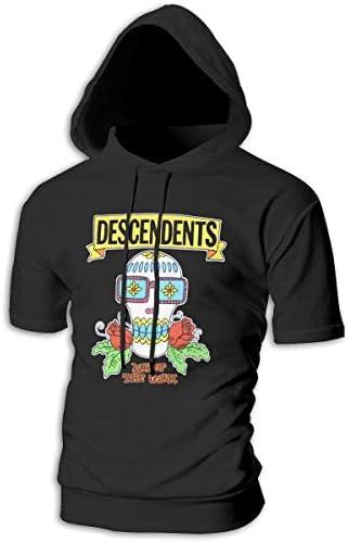 Tシャツ シャツ ティーシャツ スウェットシャツ パーカー ストレッチ メンズ 半袖 フード付き ディセンデンツ スポーツtシャツ 吸汗速乾 トレーニング ジムtシャツ 通気性 黒
