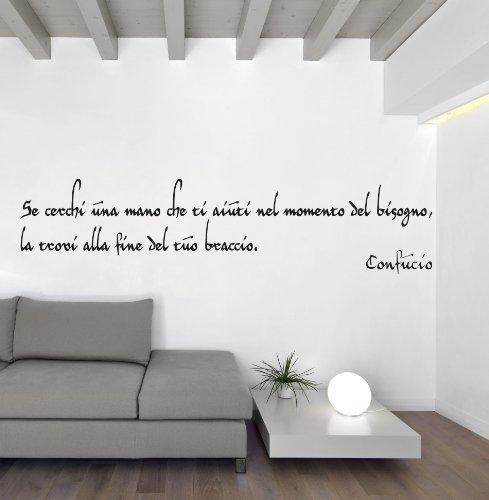 Adesiviamo Confucio M Adesivo Murale, PVC, Nero, 120 x 36 cm: Amazon ...