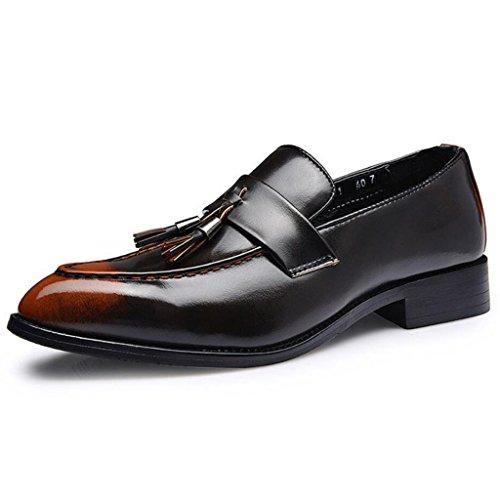 GAOLIXIA Scarpe da uomo con pelle a punta Primavera Scarpe con frange britanniche Retro Scarpe casual Parrucchieri Scarpe Arancia