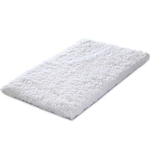 (KMAT 20x32 Inch White Bath Mat Soft Shaggy Bathroom Rugs Non-Slip Rubber Shower Rugs Luxury Microfiber Washable Bath Rug for Floor Bathroom Bedroom Living Room)
