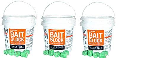 JT Eaton 709-PN Bait Block Rodenticide Anticoagulant Bait, Peanut Butter Flavor, For Mice and Rats (Pail of 144) (3 Pails of 144) by J T Eaton