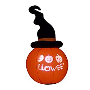 5.5' Twisted Witch Hat Pumpkin LED Lighted Outdoor Airblown Inflatable Yard Decoration w/ Scrolling Happy Halloween Message