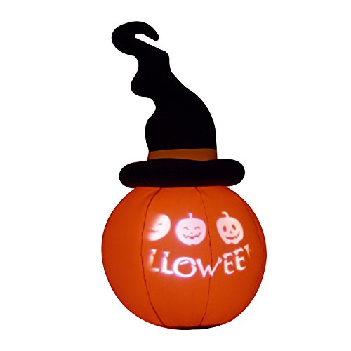 5.5' Twisted Witch Hat Pumpkin LED Lighted Outdoor Airblown Inflatable Yard Decoration w/ Scrolling Happy Halloween Message (Happy Halloween Happy Halloween)