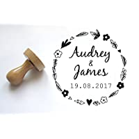 Custom wedding Stamp for your invitations, flower roundpattern, personalized with your names and wedding date, 2 inches