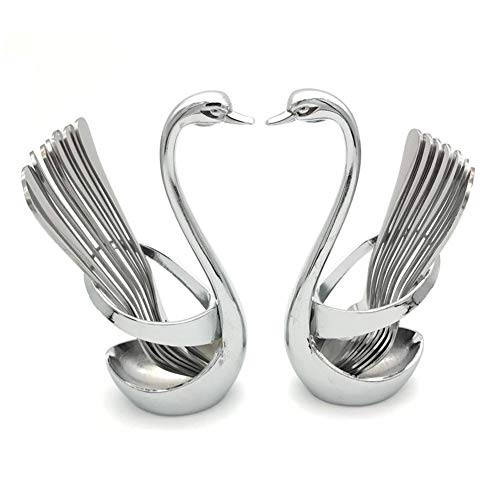 Swan Forks and Spoons Dinnerware Set Swan Base Coffee Cutlery Decor Fruit Fork 14 pcs Stainless Steel Mydears Swan holder
