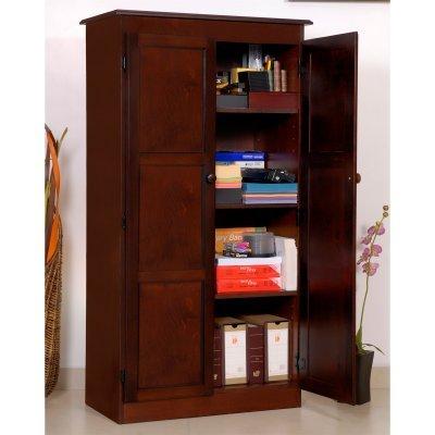 KT613-C Multi-use Storage Cabinet - Cherry Finish - 4 Shelves