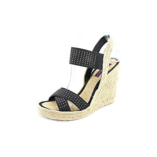 Mojo Moxy Lucky Womens Size 10 Black Open Toe Wedges Heels Shoes