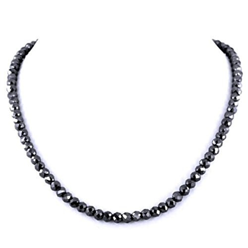 Barishh 6mm Black Diamond Necklace 19 inches with Gemstone Clasp.129 ct.Earth Mined-Certified AAA by Barishh