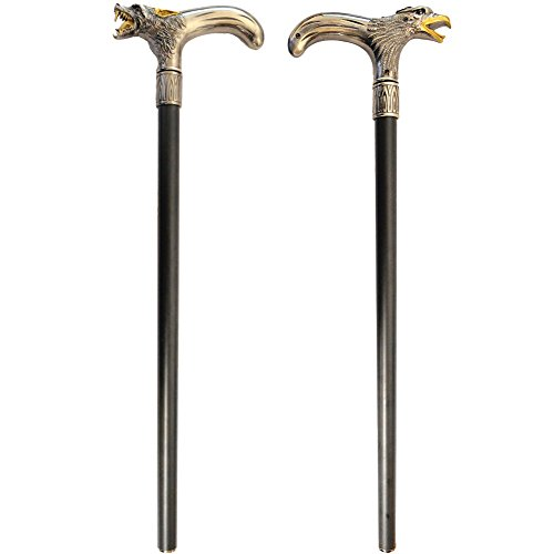 (Set) Eagle And Wolf Head Handle Black Metal Walking Cane...