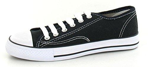 Octave Herren Retro-Schnürschuhe mit weißer Zehenkappe - Canvas - Schwarz Schwarz & Weiß