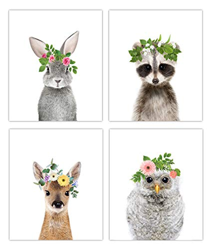 Woodland Baby Animals Floral Crown Nursery Decor Art  Set of 4 Unframed Wall Prints 8x10 Option 1