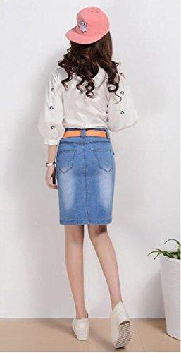 Lingswallow Women Retro Single Breasted Bodycon Stretch Denim Pencil Skirt