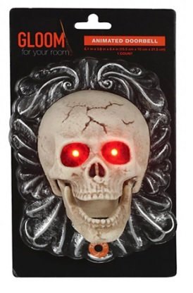 8 Inch Animated Led Light Up Skull Doorbell   Spooky Halloween Sounds