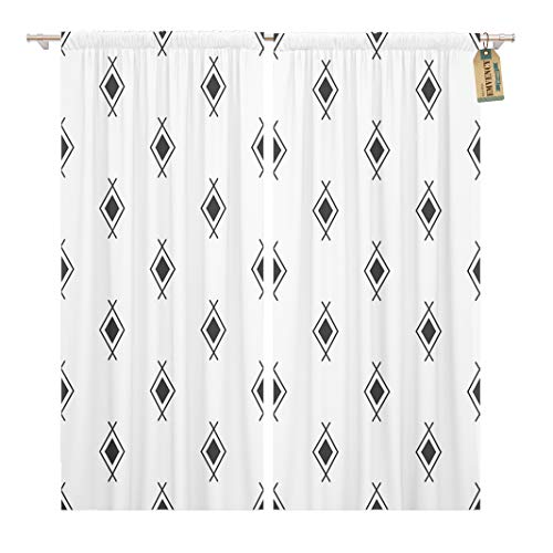 Golee Window Curtain Pattern Black White Navajo Aztec Abstract Geometric Ethnic Hipster Home Decor Rod Pocket Drapes 2 Panels Curtain 104 x 96 inches