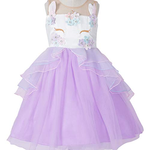 Little.Elf Unicorn Costume Dress Pageant Party Dresses Flower Evening Gowns
