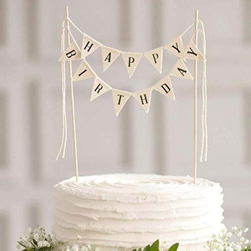 Happy Birthday Cake Bunting Topper Cake Topper Garland, Handmade Pennant Flags with Wood Pole Ivory (Without Pink Roses) ()